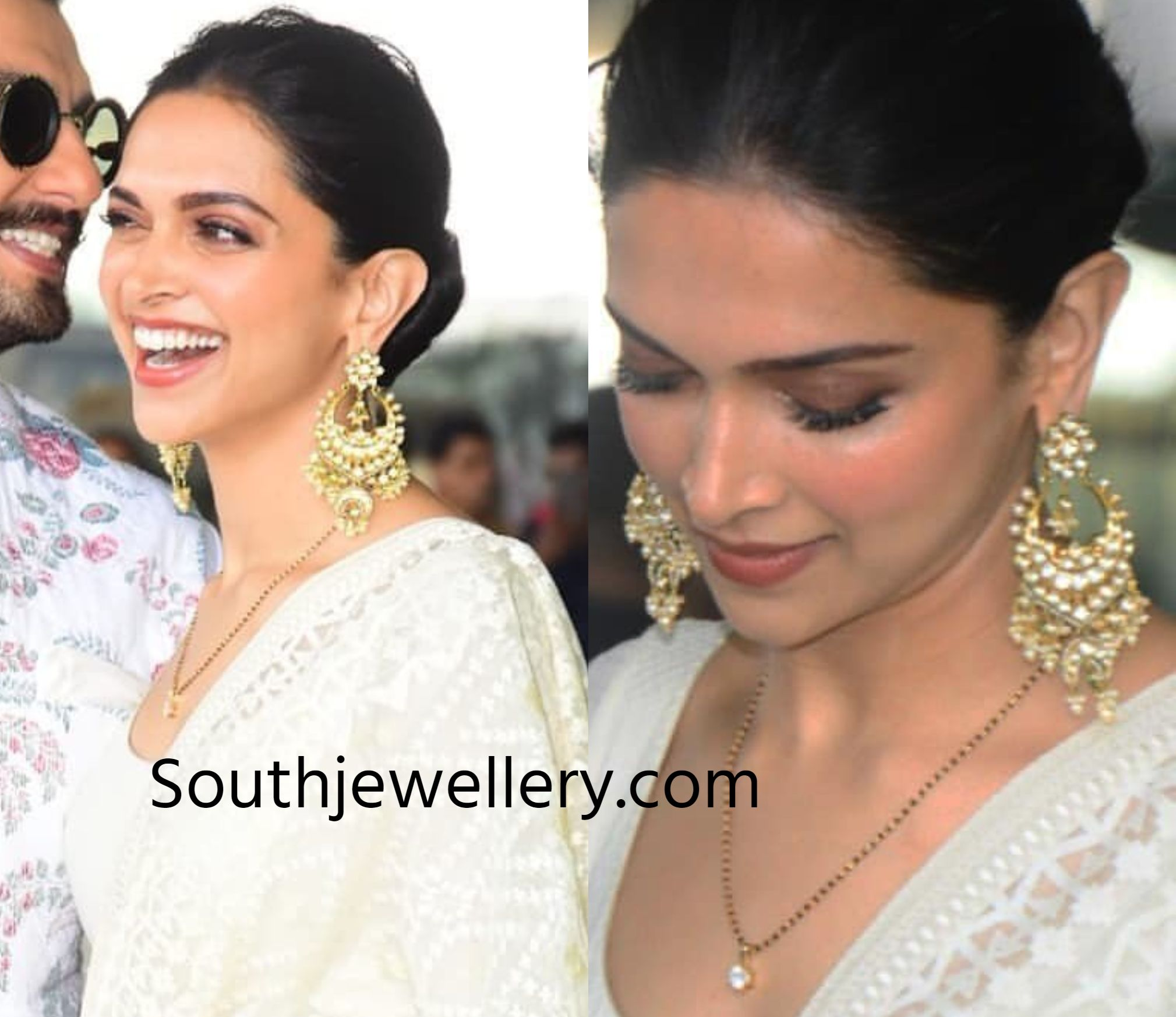 Deepika Padukone in a simple black beads mangalsutra chain ...