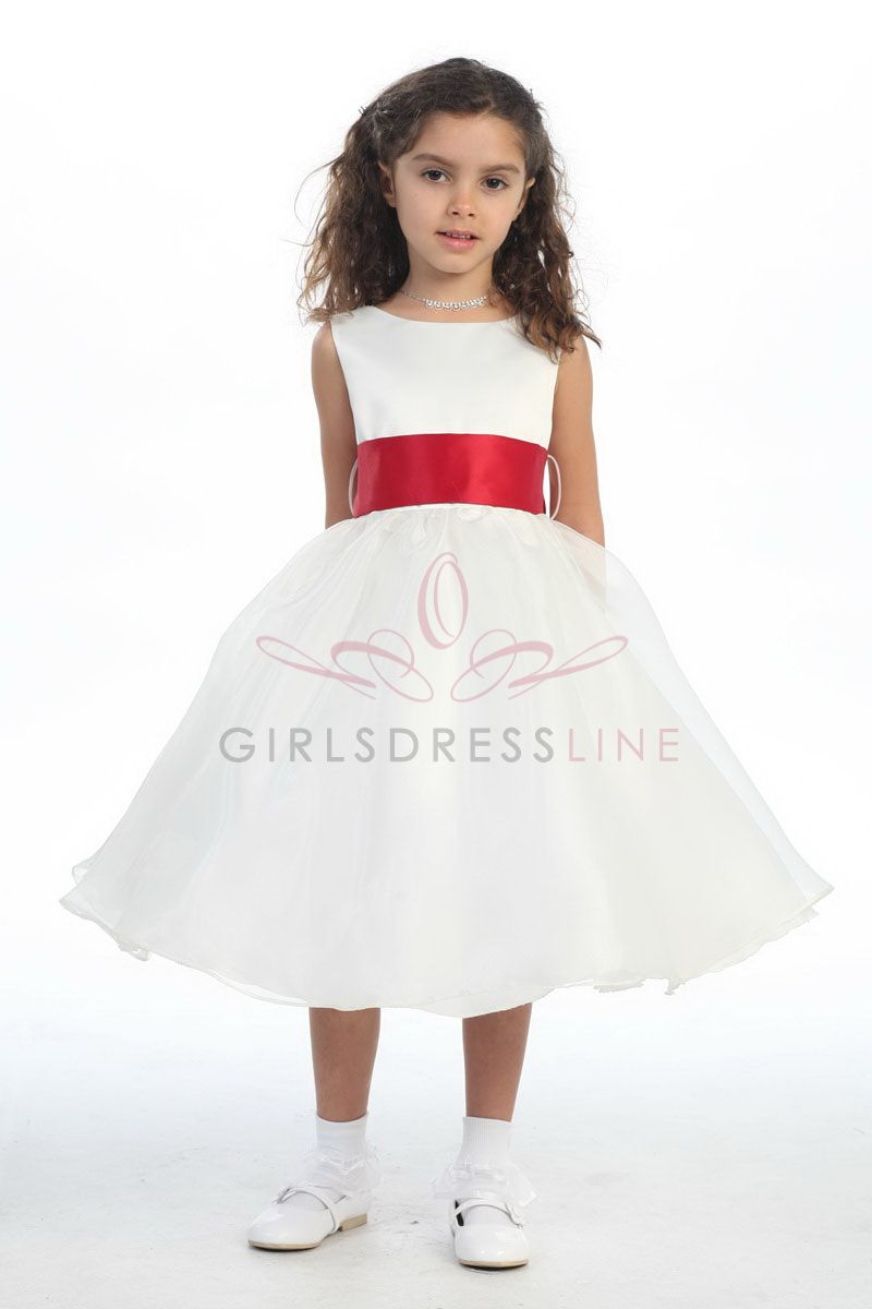 Satin Bodice Organza Flower Girl Dress With Red Sash G3211 5295 On