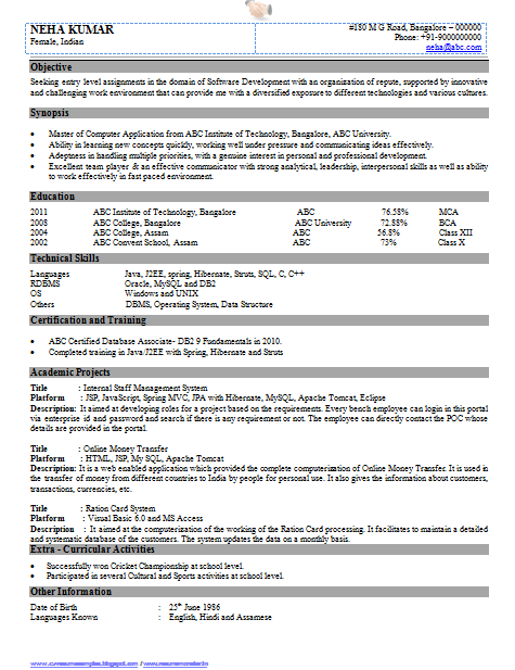 resume format for bca freshers Professional Curriculum Vitae / Resume  Template Sample Template of .