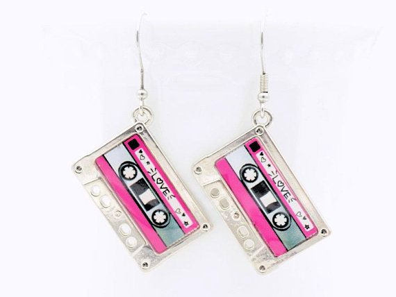 Mixtape Earrings, Pink and Black, Music Themed, Dangle Earrings, Drop Earrings, Everyday Earrings, Costume Jewelry, Pink Dangle earrings her
