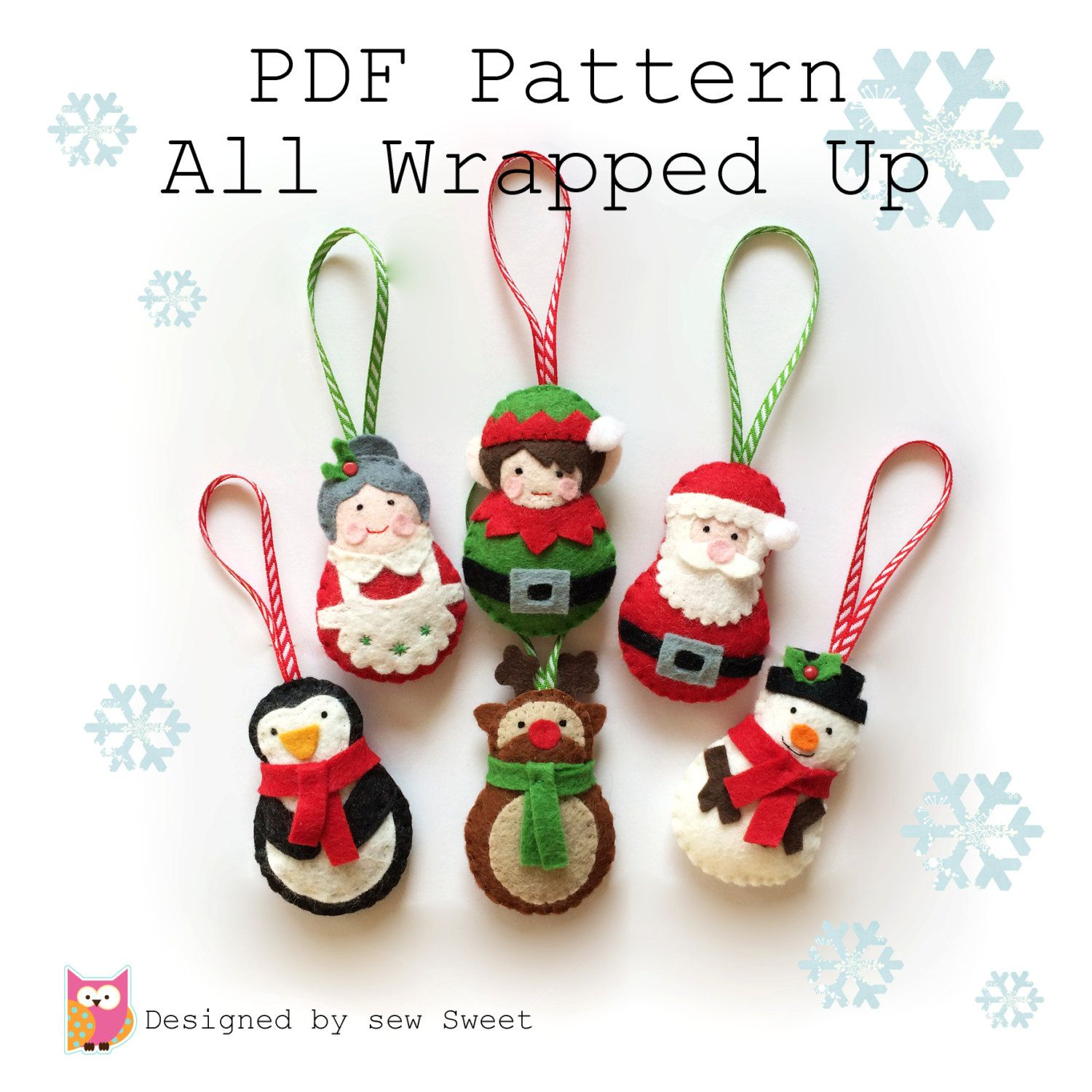 All Wrapped up Christmas Ornament decorations PDF PATTERN tree