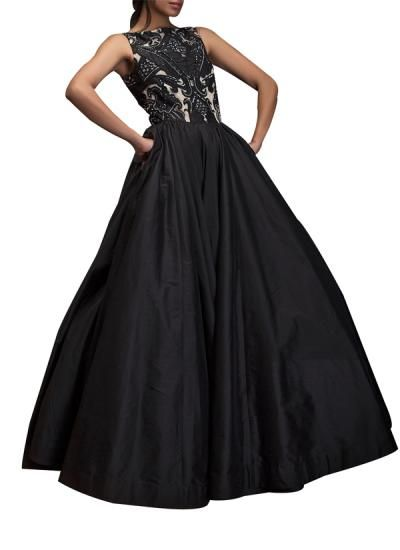 Stunning Black Taffeta Dress by Indian Fashion Designer Siddartha Tytler. Shop at strandofsilk.com