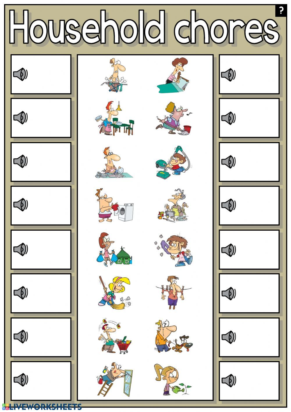 Household Chores Interactive And Downloadable Worksheet You Can Do The Exercises Online Or Download The Worksheet As Pdf Household Chores Chores Worksheets