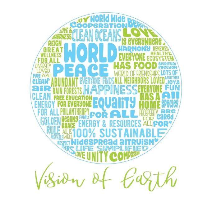 POSITIVE VISION OF EARTH WORD CLOUD World Peace Clean Oceans - All oceans on earth