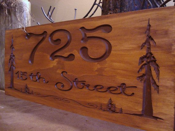 Carved Rustic Address Signs Pine Tree Redwood Forest