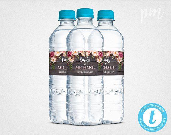 rustic floral wedding water bottle labels template printable water