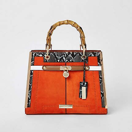 8a7fc4fb70 Orange lock front bamboo handle tote bag in 2019 | Products ...