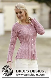 Knitted Drops Jacket With Lace Pattern In Muskat Or Belle Size S Xxxl Drops Design Cardigan Pattern Knit Jacket Crochet Lace Pattern