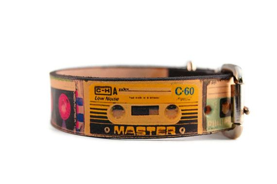 Cassette Tape Dog Collar Http Www Etsy Com Listing 96986708 Leather Dog Collar 1 Inch Cassette Ga Search Leather Dog Collars Leather Handmade Dog Collars
