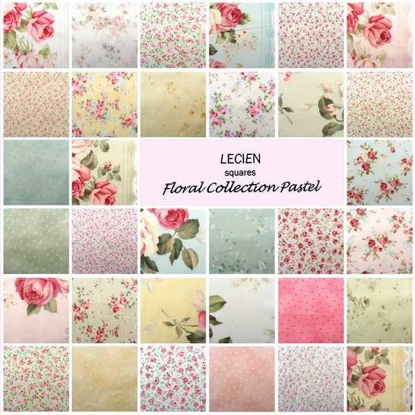 Lecien Charm Pack Fabric Squares Floral Pastel Patchwork Quilting ... : floral quilting fabric - Adamdwight.com