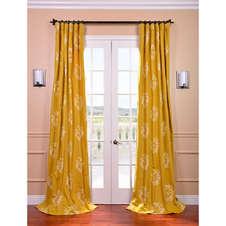 Exclusive Fabrics Isles Mustard Printed Cotton Curtain Panel By Exclusive  Fabrics