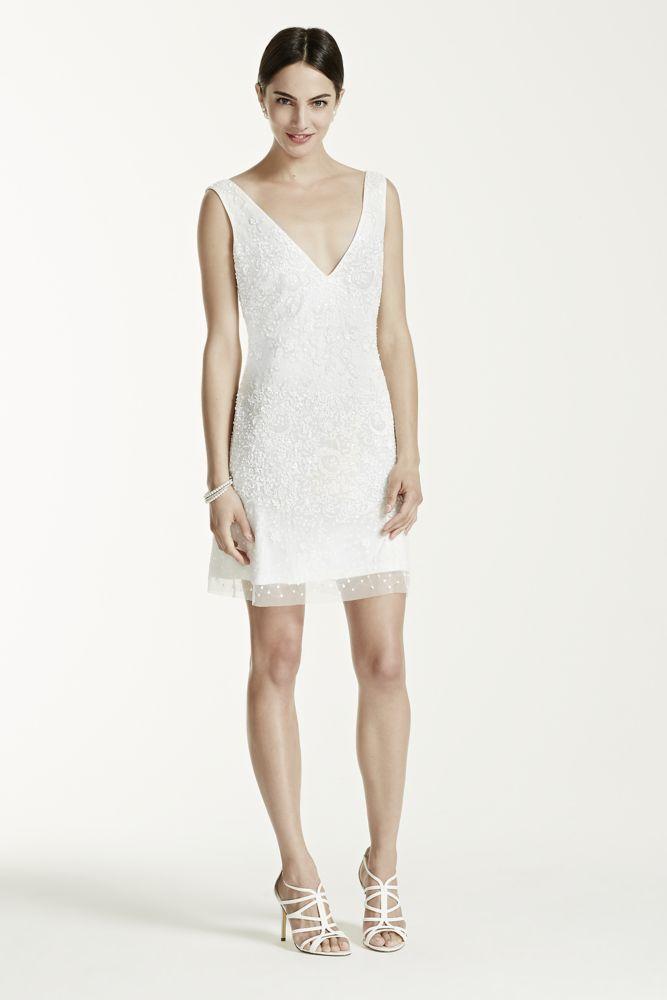 Novelty Short Beaded Tank Wedding Dress with V Neckline - White, 2