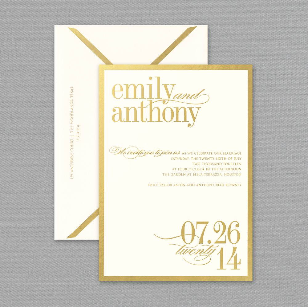 Vera Wang Gold Bordered Oyster White Wedding Invitations ...