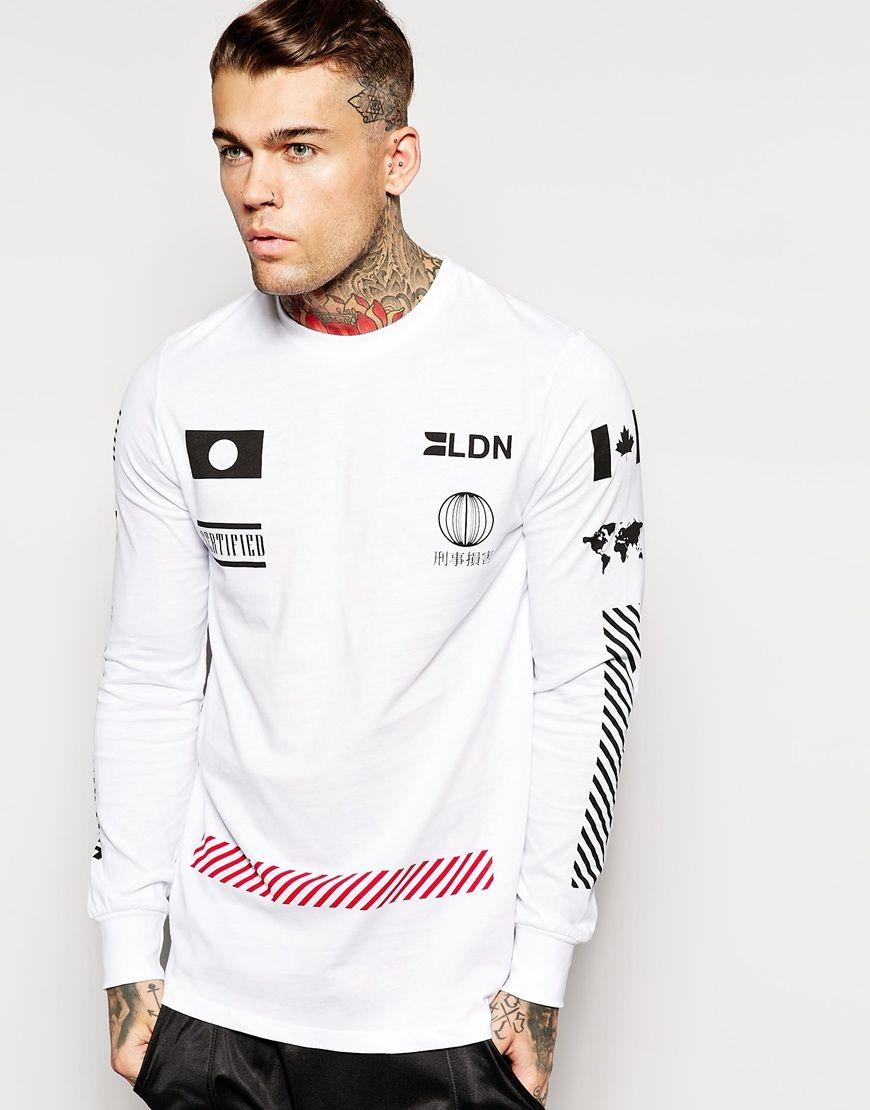 Image 1 Of Criminal Damage Long Sleeve T Shirt With Sponsors Print