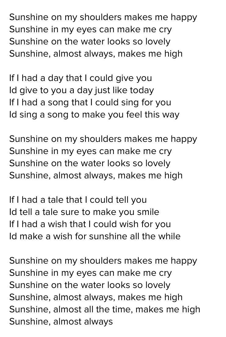 Sunshine On My Shoulders Lyrics John Denver John