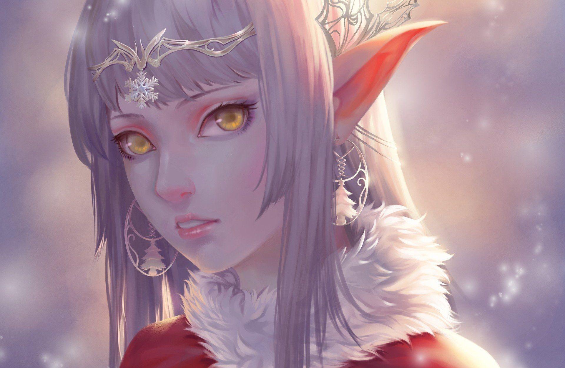 Fantasy Elf Girl Yellow Eyes Pointed Ears Face White Hair Earrings Wallpaper Elves Fantasy Anime Elf Elf Art