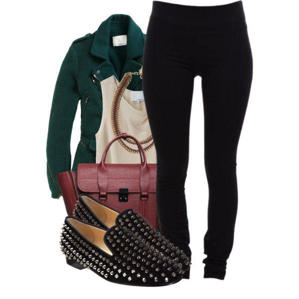 Outfit vanguardista con toque de color verde con reminicensia militar basado en el detalle de los zapatos: Slipers Flats Christian Louboutin Rol