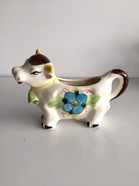Japan Vintage Ceramic with Blue Milk Vintage Cow Creamer