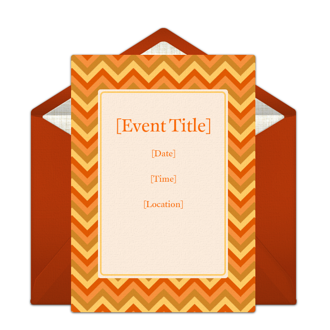 free orange zig-zags invitations | fall party invitations, fall, Party invitations