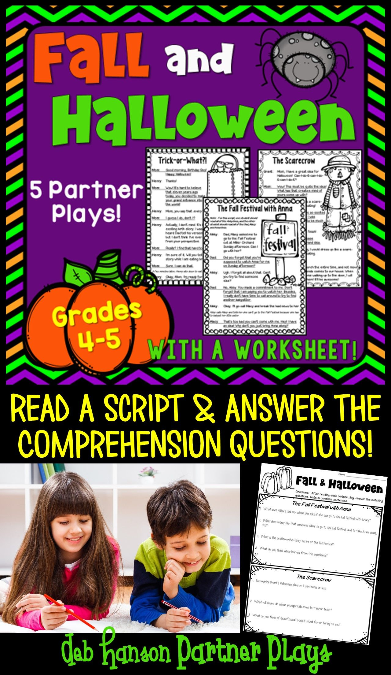Halloween And Fall Partner Plays This Set Contains 5 Scripts And A Follow Up Compreh Partner Plays Reading Fluency Activities Reading Comprehension Activities [ 2208 x 1280 Pixel ]