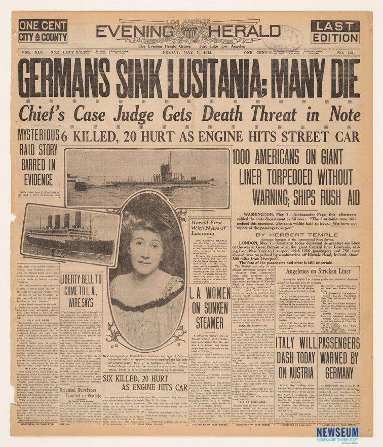 Sinking Of The Lusitania: Evening Herald, 5/7/1915