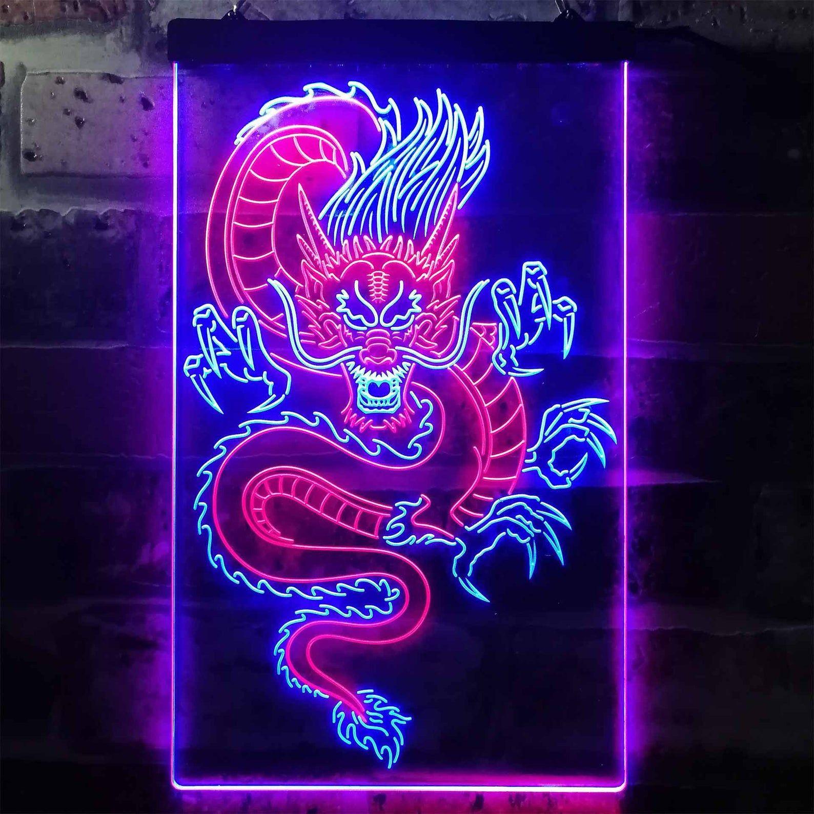 Chinese Dragon Room Display Dual Color LED Neon Si