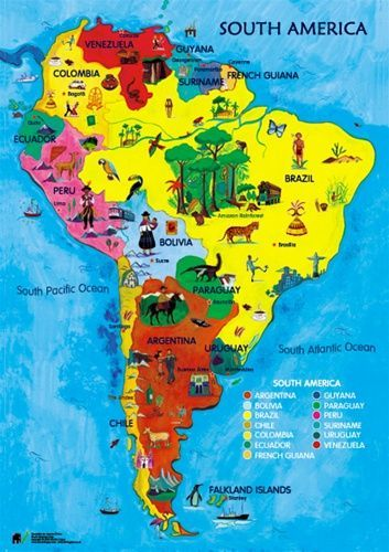 Kids Map Of America South America Funny America North America - Physical map for kids