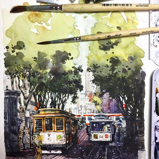 USA  - Repost from @nomor6 . . . . . . . . . . . . . . . San Fransisco Municipal Railway #unionsquaresf#cablecarsanfrancisco#sanfranciscomunicipalrailway#sanfransisco #watercolorpaint#watercolordrawing #sennelieraquarelle#sennelierwatercolor #art #artist #artwork #aquarelle #carnet #cartel_watercolorists #draw #dessin #gallery #global_artist #instaart #illustrateyourworld #pen #paint #pleinair #sketch #travel #traveldiary #topcreator #urbansketchers #watercolor #usa