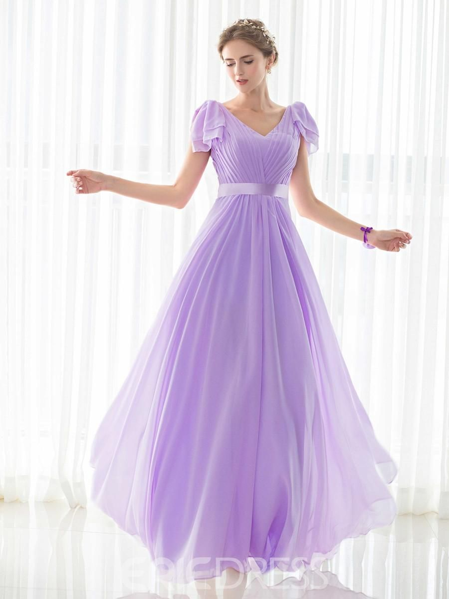 Ericdress simple v neck short sleeves a line long bridesmaid dress