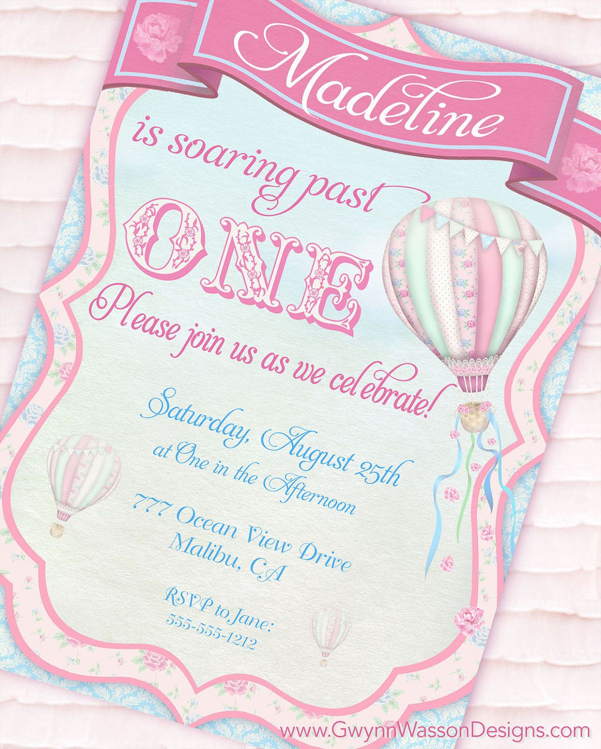 Hot Air Balloon Party Invitation - Up, Up and Away Shabby Chic ...