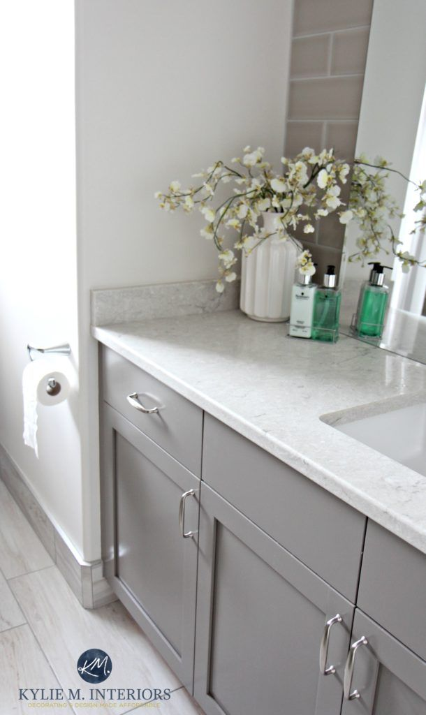 The 4 Best Gray Greige Colours For Cabinets Vanities Medium Toned Kylie M Interiors Bathroom Cabinet Colors Grey Bathroom Cabinets Grey Bathroom Vanity