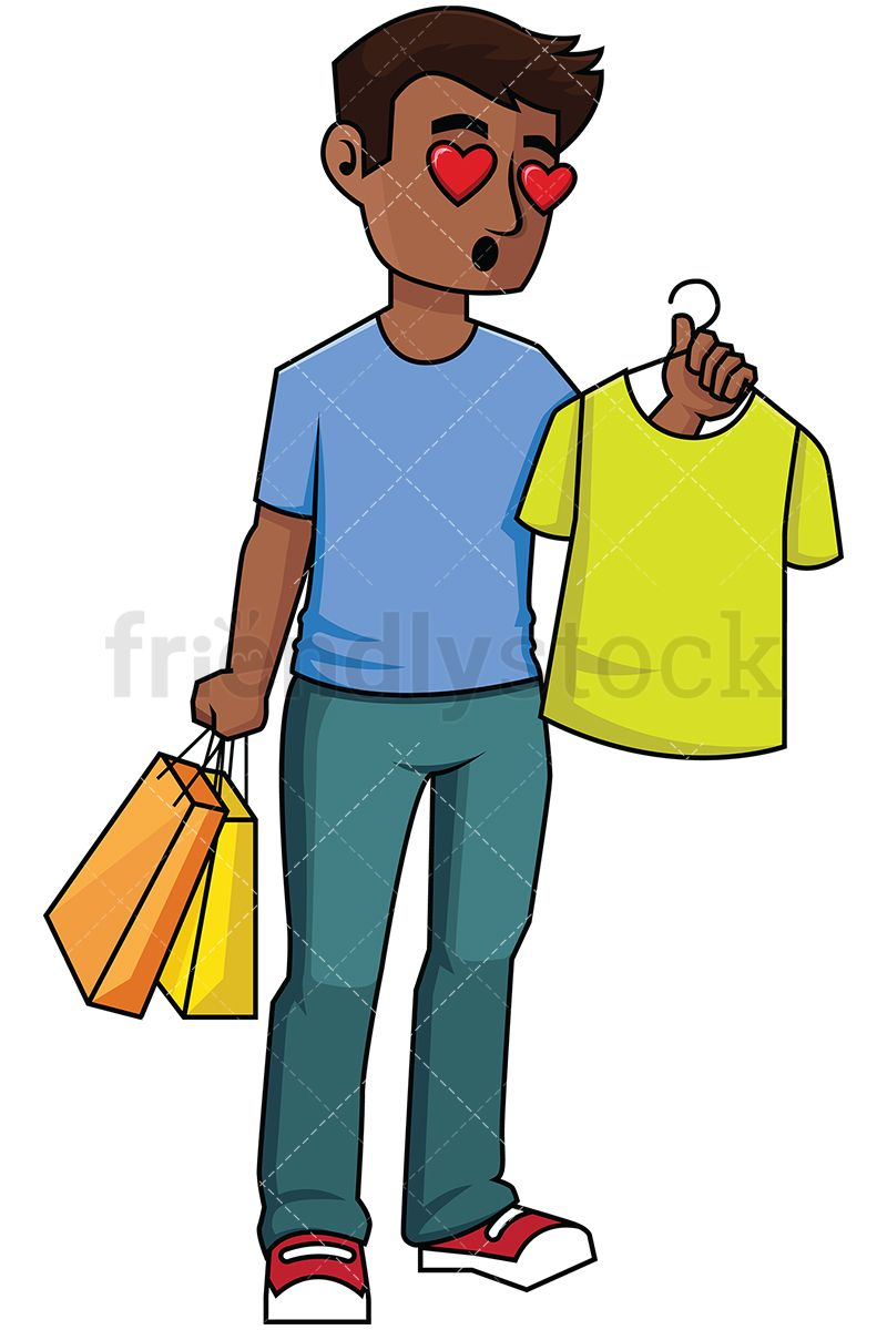 71c6140f914f Black Man Falling In Love With A T-Shirt While Shopping  Royalty-free stock  vector illustration of a black man with dark hair holding a t-shirt while  ...