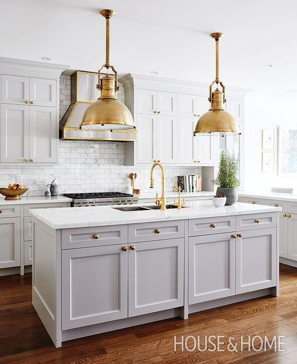Grey Kitchen Marble: Traditional Kitchen With Gray Shaker Cabinets, Brass