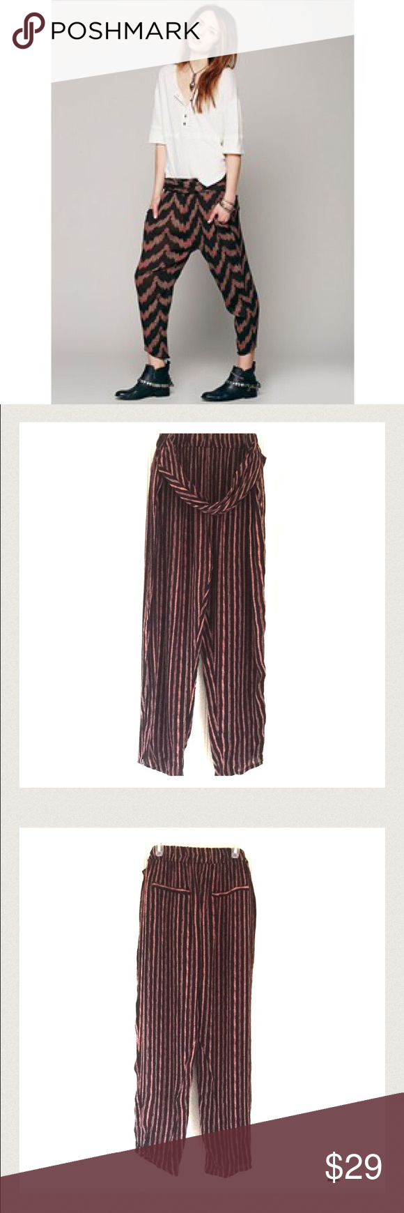 FREE PEOPLE - harem pants NWOT Printed crinkly rayon viscose pants with elastic waistband. Twisted bands drape off the hips over the front of the pants. Two back pockets. Zippers at ankle. Never worn. Made in India Free People Pants Ankle & Cropped