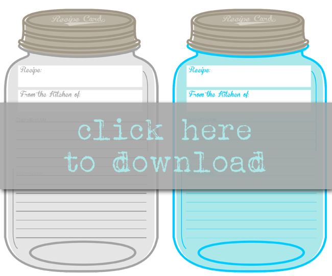 Free Printable Mason Jar Recipe Cards Prints 2 Per Page Instant Downloads