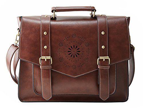 Nouveau Cuir Vintage Sac bandoulière Marron Sac à main Messenger femmes sac d/'ordinateur portable
