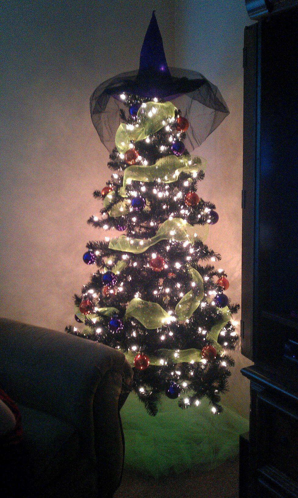 I finally got my Halloween tree! Black Prelit Tree, Witch