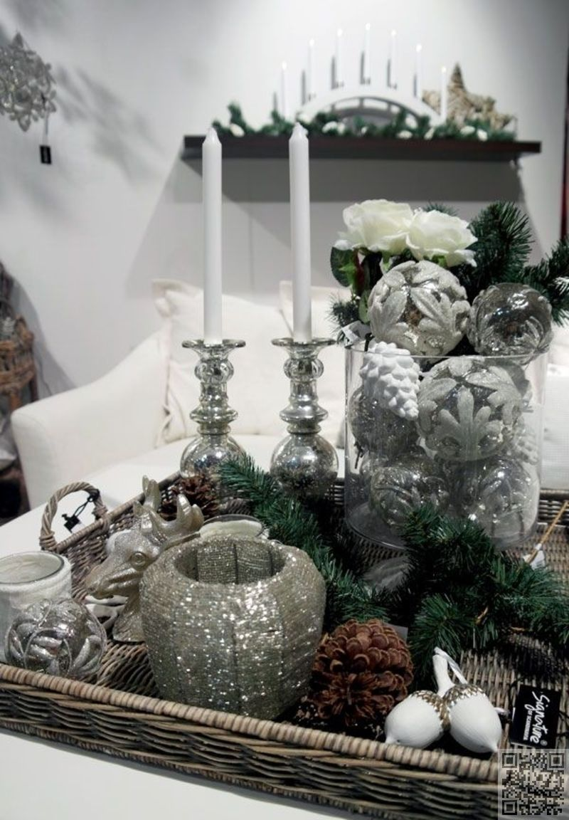 Winter White And Silver Christmas Coffee Table Decor Holiday Coffee Table Decor Decorating Coffee Tables