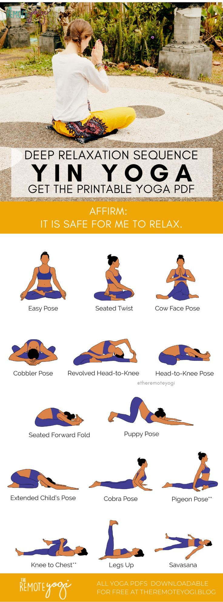 Yin Yoga Sequence For Deep Relaxation In 2020 Yin Yoga Yin Yoga Sequence Deep Relaxation