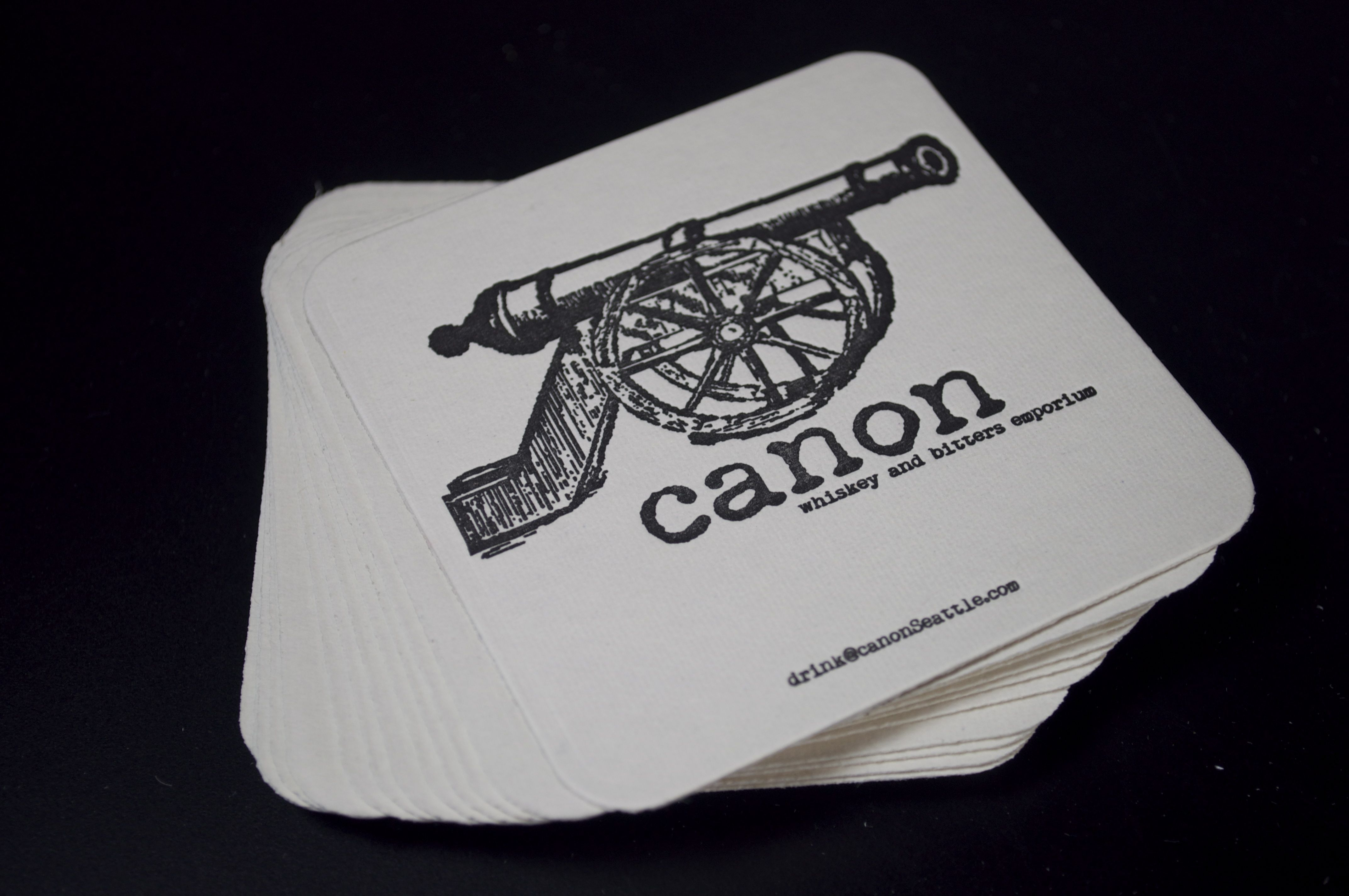 Canon Restaurant Seattle Letterpress Coasters Designed And Printed At Pike