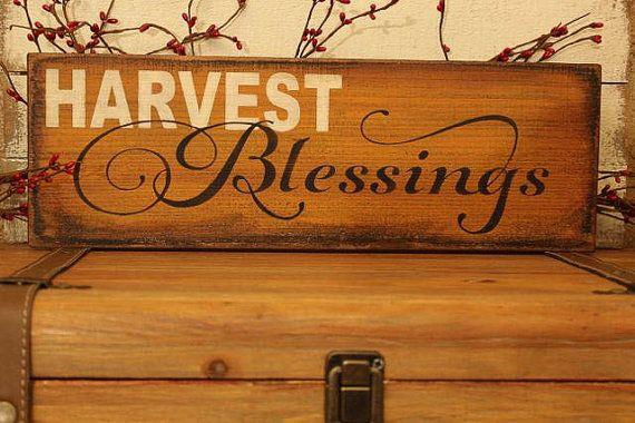 Fall decor, Harvest Blessings sign on cedar, Thanksgiving ...