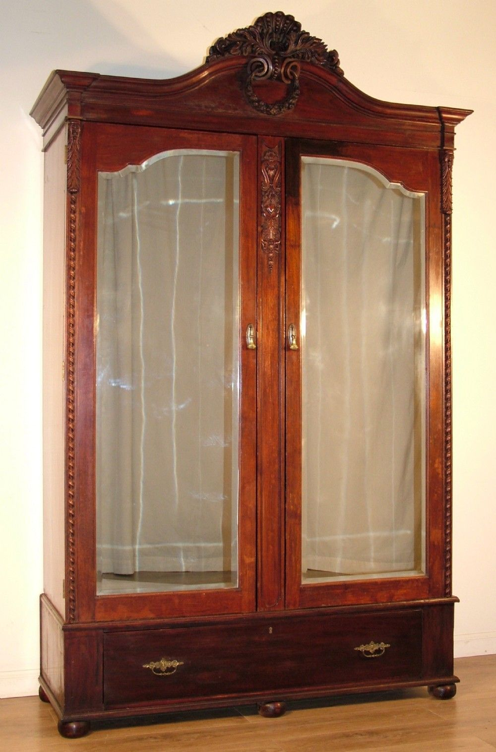 Large Armoire Wardrobe | Large Antique Victorian Carved Mahogany Double  Mirror Door Wardrobe .