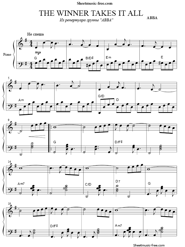 Download The Winner Takes It All Sheet Music Abba Pop Sheet Music Piano Sheet Music Free Sheet Music