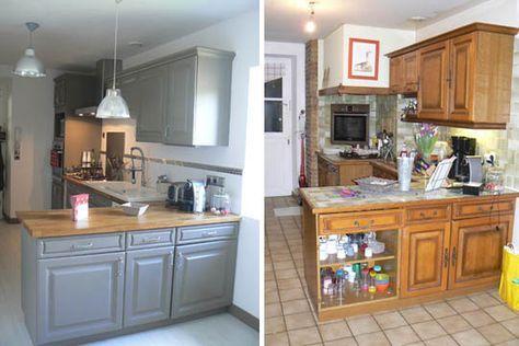 une cuisine r nov e du beau avec de l ancien plans de travail blancs maisons peintes et. Black Bedroom Furniture Sets. Home Design Ideas