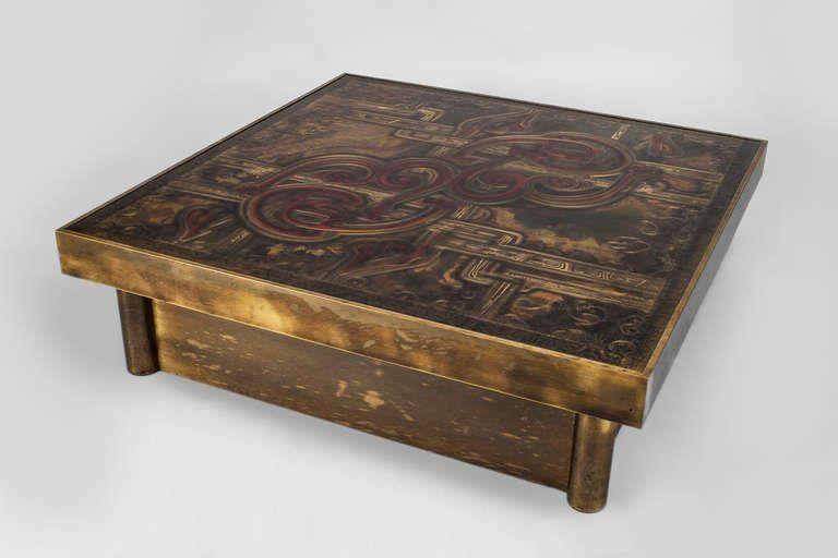 Bernard Rohne For Mastercraft Bronze Coffee Table Titled 1712