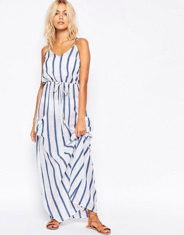 Pin for Later  79 Robes Longues Super Confort Pour Cet Été Asos Maxi robe  de plage en lin à rayures avec poche - Rayures (40€) Plus e48e4634f44