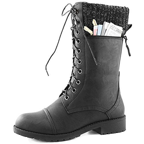 Women's Combat Style Lace up Ankle Bootie Round Toe Military Knit Credit Card Knife Money Wallet Pocket Boots Purple