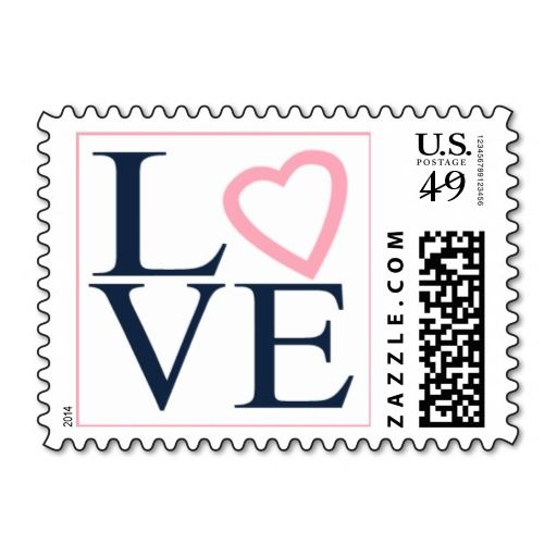 Wedding Postage Love Stamps Navy Blue and Pink   Zazzle com