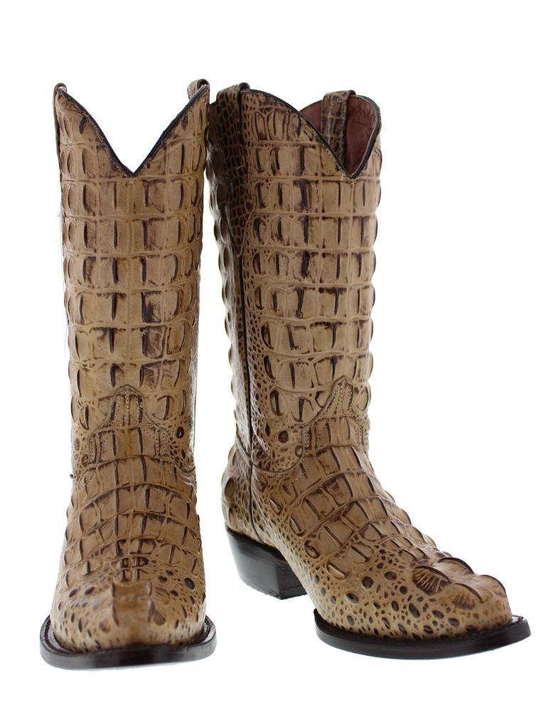 4d4ed00ece9 Mens beige rustic crocodile alligator head cut western cowboy biker ...