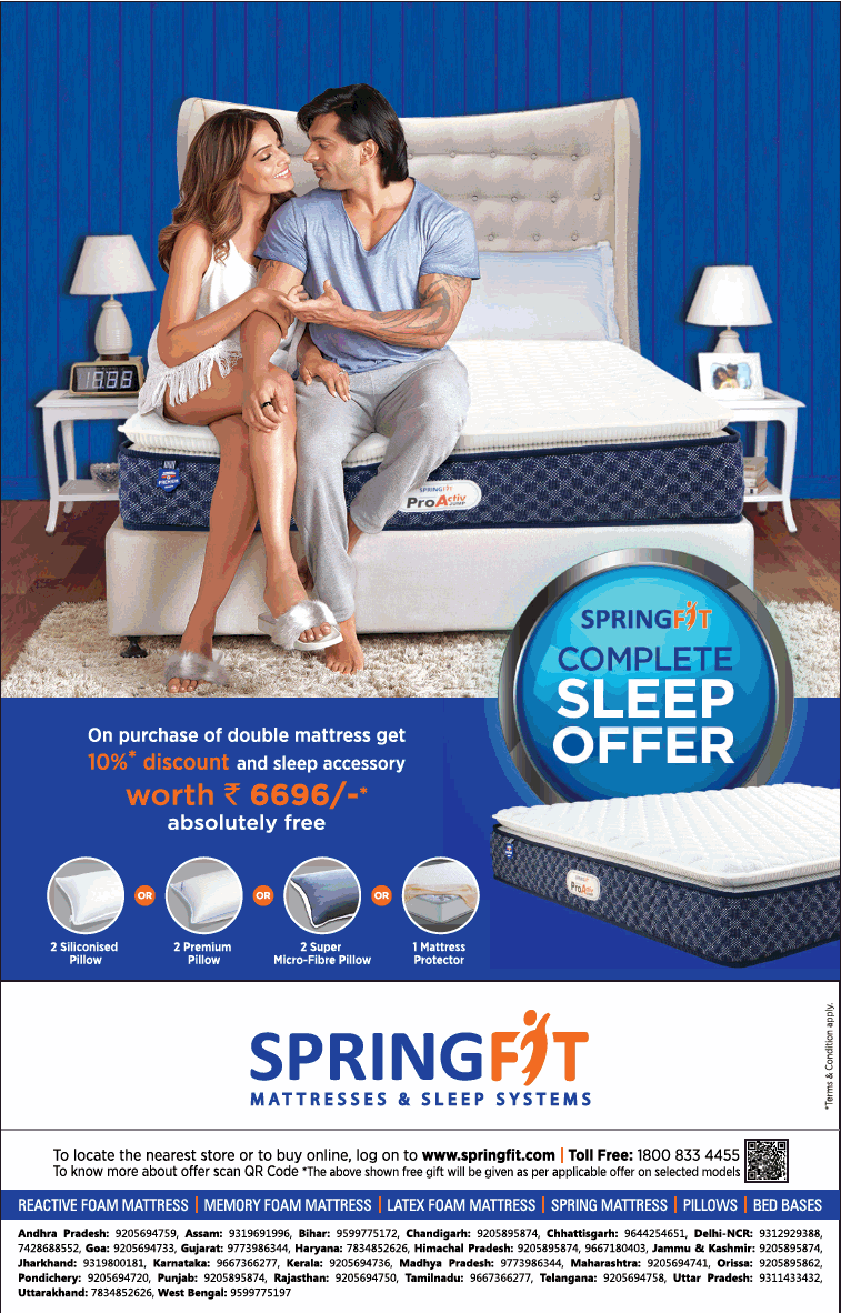 Google Image Result For Https Www Advertgallery Com Wp Content Uploads 2019 07 Springfit Mattresses And Sleep Systems Ad Delhi Times 28 07 2019 Png